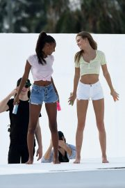 Jasmine Tookes and Josephine Skriver on the Set of a VS Photoshoot in Miami 2018/11/26 11