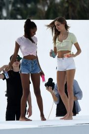 Jasmine Tookes and Josephine Skriver on the Set of a VS Photoshoot in Miami 2018/11/26 13