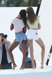 Jasmine Tookes and Josephine Skriver on the Set of a VS Photoshoot in Miami 2018/11/26 17