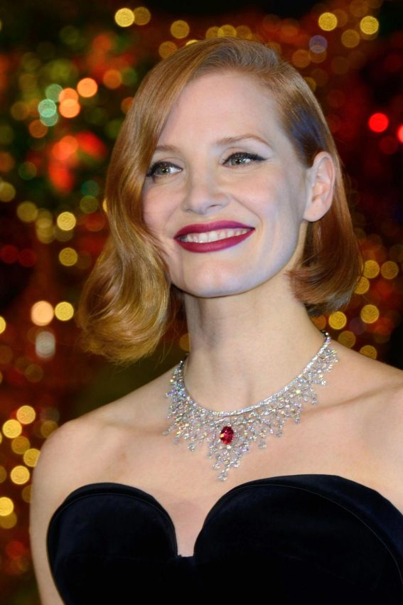 Jessica Chastain at Les Galeries Lafayette Christmas Decorations Inauguration in Paris 2018/11/07 1