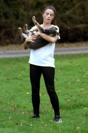 Katie Price Trains Her Dog at a Park in Brighton 2018/11/25 12