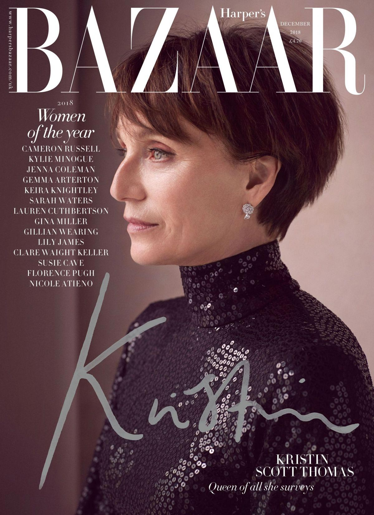 Kristin Scott Thomas in Harper's Bazaar Magazine, UK December 2018 1