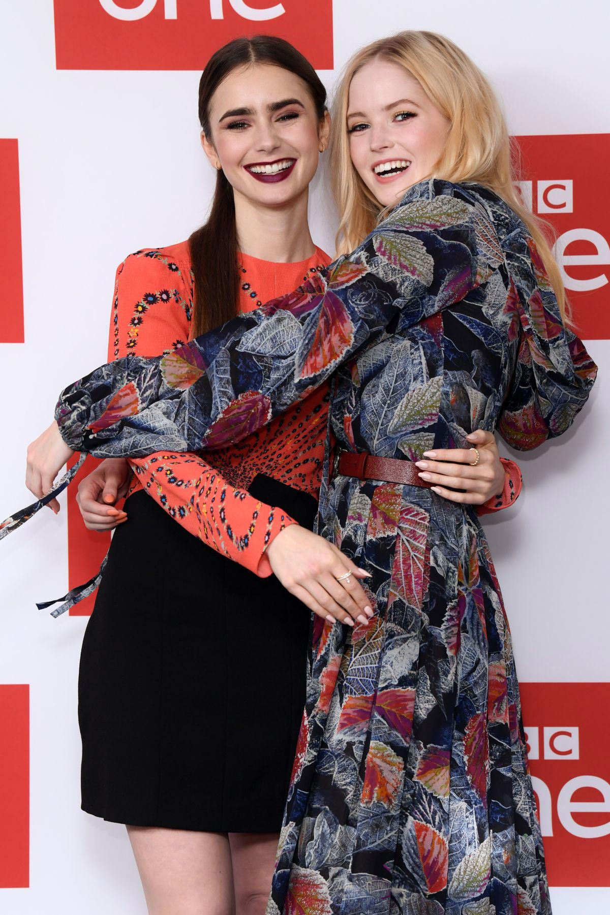 Ellie Bamber and Lily Collins at Les Miserables Photocall in London 2018/12/05 1