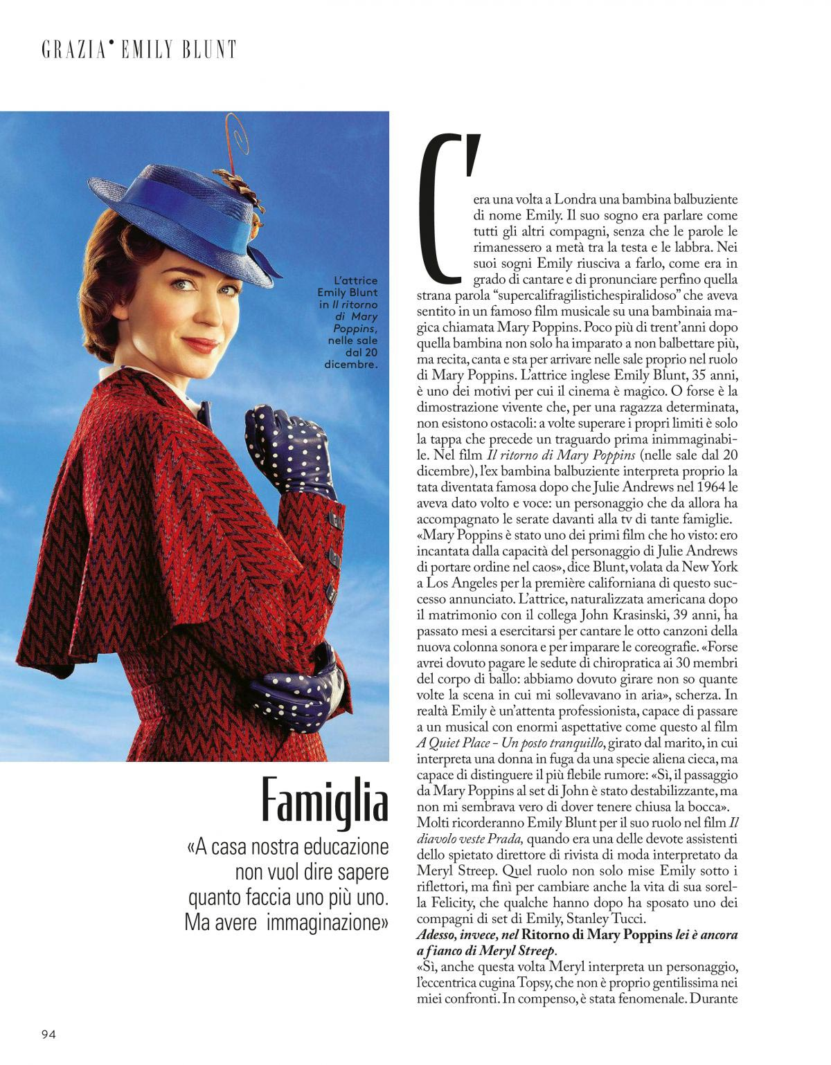Emily Blunt in Grazia Magazine, Italy December 2018 1