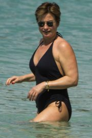 Emma Forbes in Swimsuit on the Beach in Barbados 2018/12/27 10