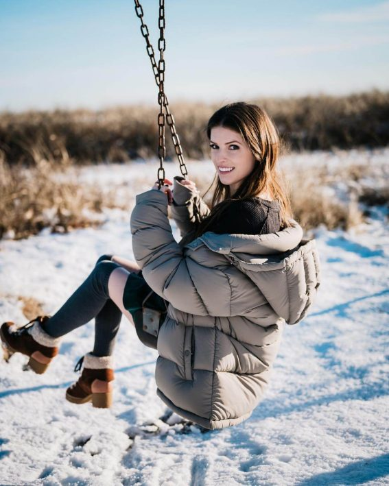 Anna Kendrick enjoying snow in goose coat - January 11, 2019 1