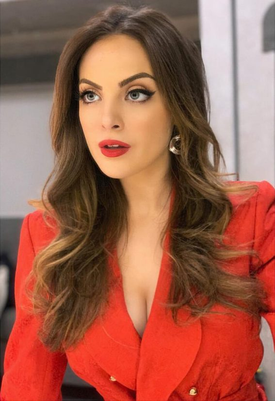 Elizabeth Gillies in Red Lip Look with Red Outfit on December 07, 2018 1