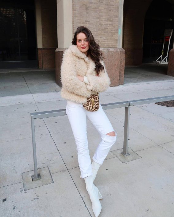 Emily DiDonato in Faux Fur Jacket and White Ripped Jeans - January 26, 2019 1