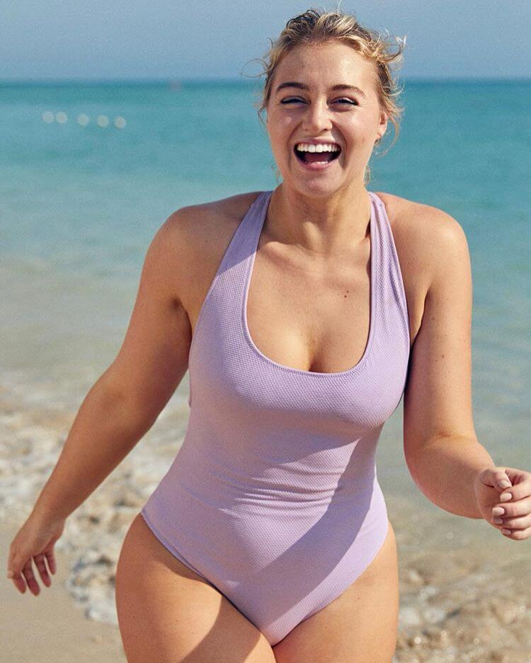 Iskra Lawrence wearing Light Purple Swimsuit at Beach on January 14, 2019 1