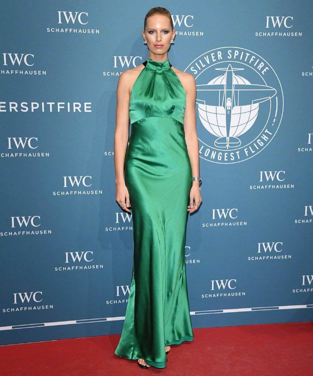 Karolina Kurkova wearing Green Dress in IWC Schaffhausen in Geneva, Switzerland Januray 17, 2019 1