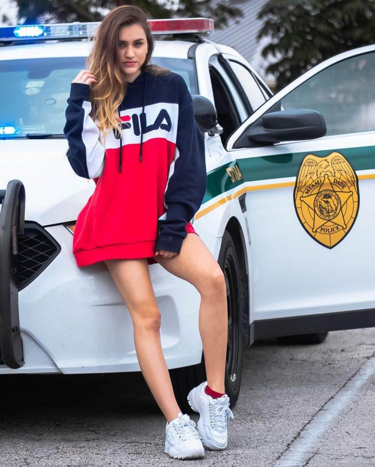 Amanda Isava in Navy/White/Chinese Red FILA Todd Hoodie Photos - February 10, 2019 2