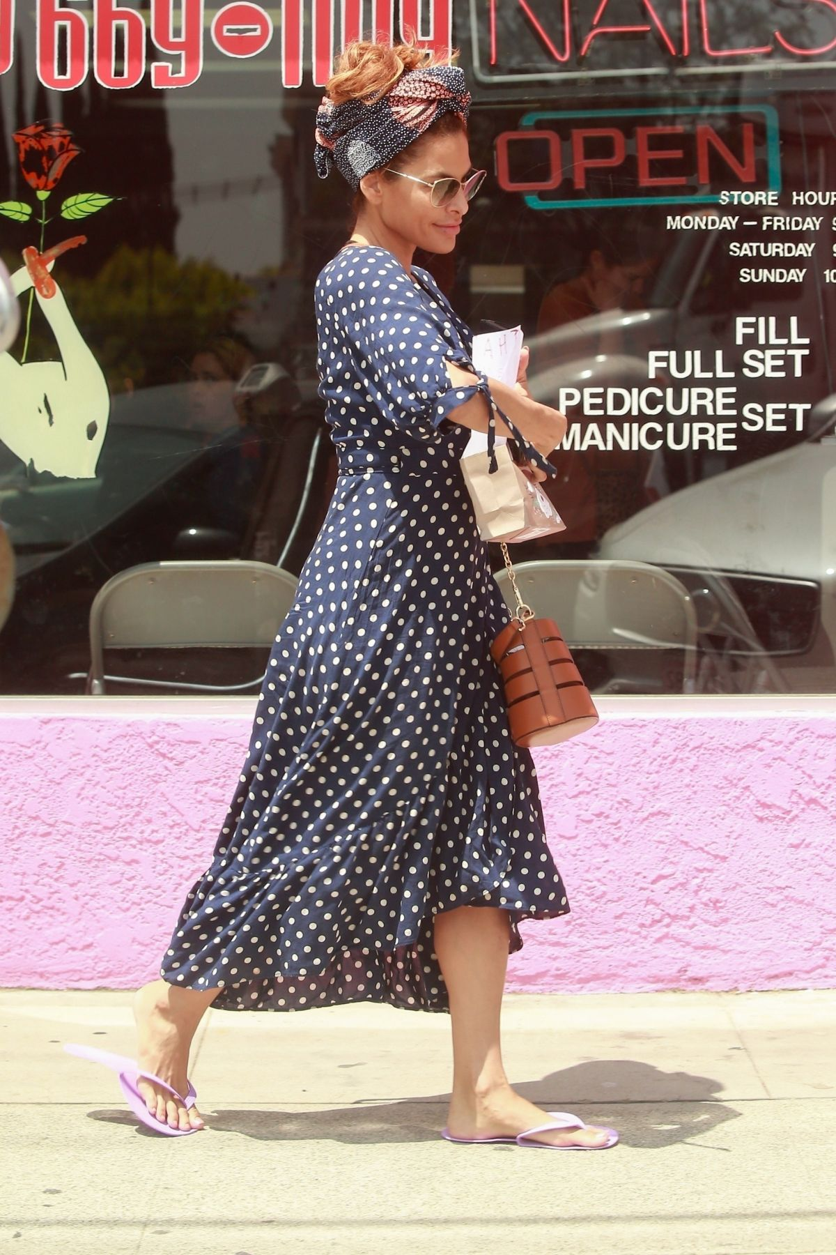 Eva Mendes in Polka Dot Dress Out in Los Angeles 2019/04/26 1