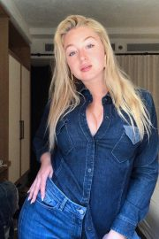 Iskra Lawrence Recent Double Danim Shirt And Jeans Look From Persona By MR 1