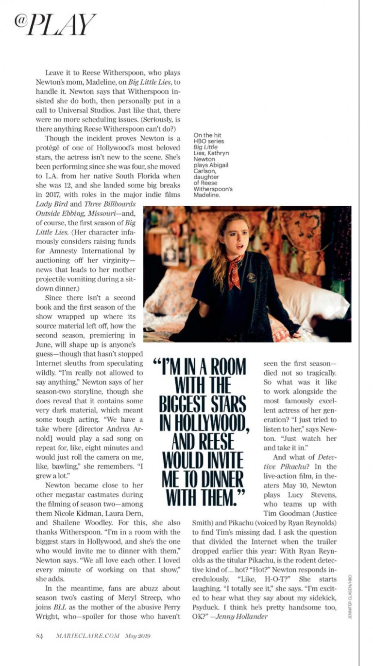 Kathryn Newton in Marie Claire Magazine, May 2019 1