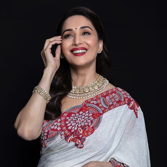 Madhuri Dixit Stunning Look In White Designer Saree 1