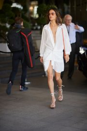 Alessandra Ambrosio in Braless White Wrap Dress during the 72nd Cannes Film Festival 2019/05/15 3