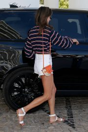 Alessandra Ambrosio in Lining Top and White Short Leaves from Hotel in Cannes 2019/05/17 1