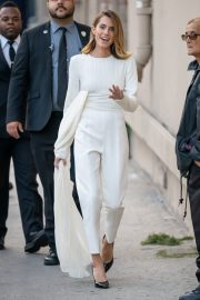 Allison Williams in White Jumpsuit with Long Sleeves at Jimmy Kimmel Live! in Hollywood 2019/05/15 2