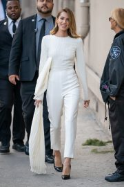 Allison Williams in White Jumpsuit with Long Sleeves at Jimmy Kimmel Live! in Hollywood 2019/05/15 3