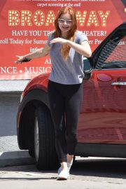 Ariel Winter in Braless Tee and Tights Out in Studio City 2019/05/12 15