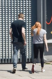 Ariel Winter in Braless Tee and Tights Out in Studio City 2019/05/12 21