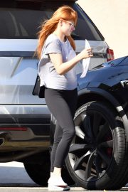 Ariel Winter in Braless Tee and Tights Out in Studio City 2019/05/12 23