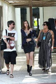 Barbara Palvin in Bralette Top and Short Leather Mini Leaves From Hotel in Miami 2019/05/11 1