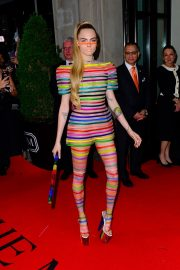 Cara Delevingne Out in Stripes for the 2019 Met Gala in New York 201905/06 3