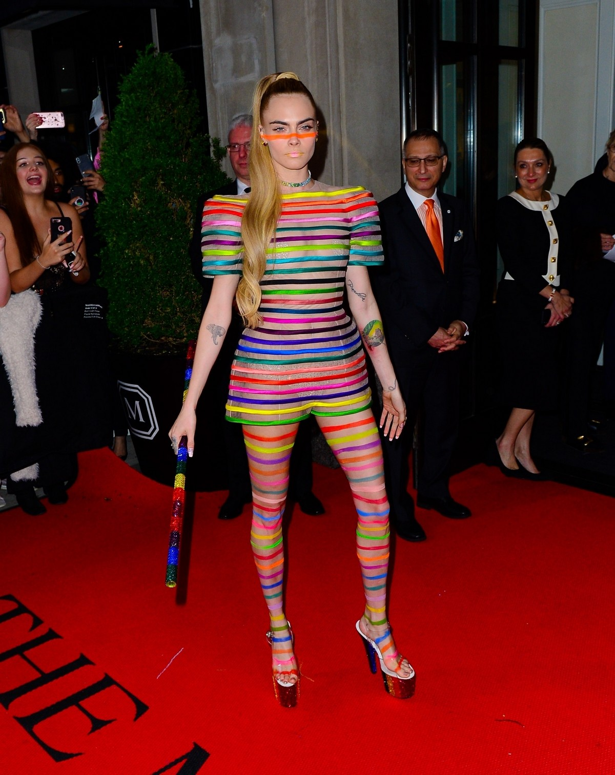 Cara Delevingne Out in Stripes for the 2019 Met Gala in New York 201905/06 4