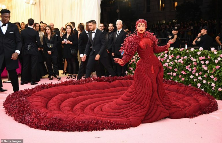 Cardi B Attends The Met Gala 2019 As She Looks Stunning In Red Gown 3