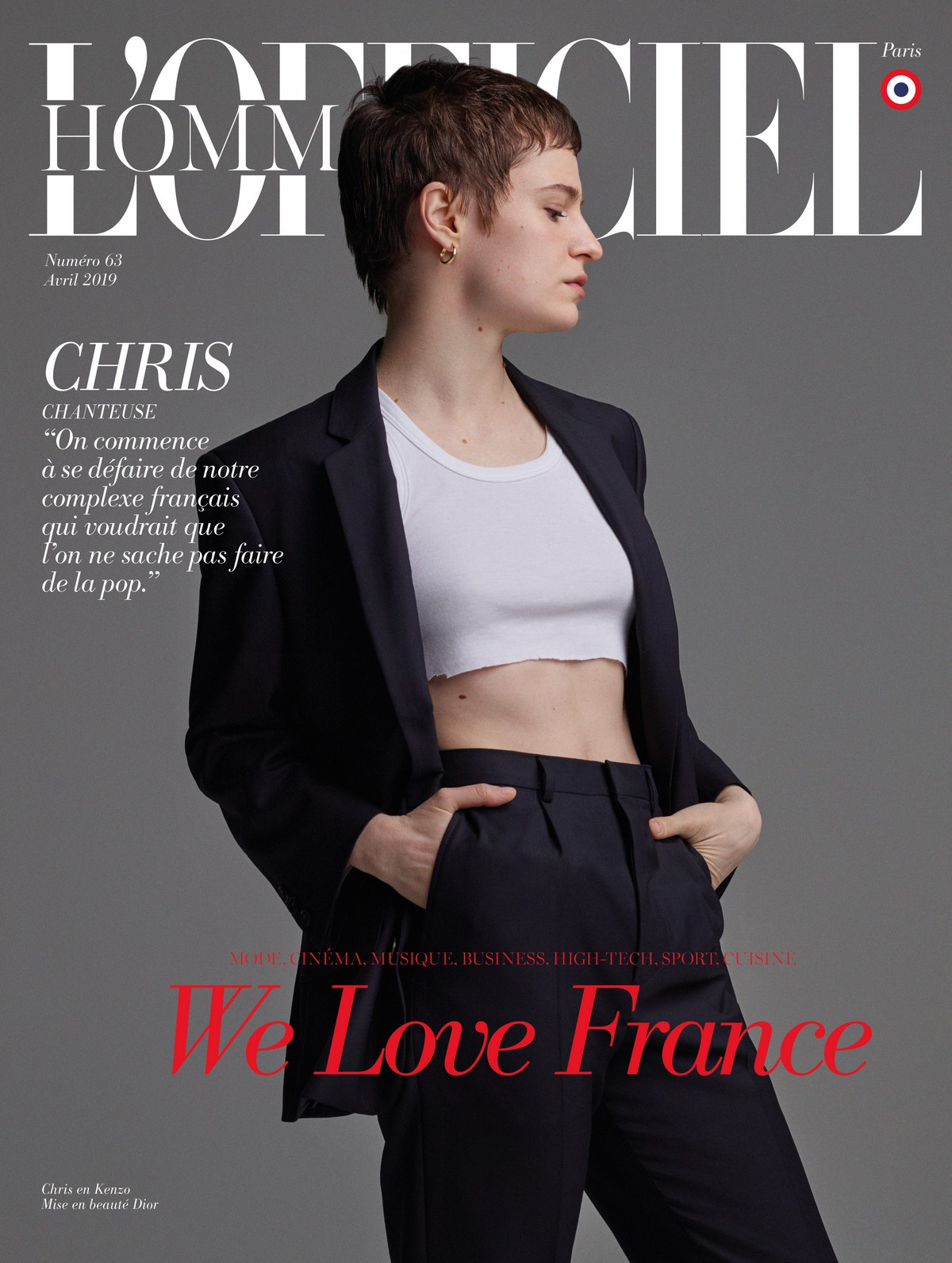 Christine and the Queens for L'Officiel Hommes by Danny Lowe, April 2019 1