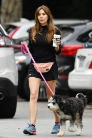 Elizabeth Olsen in Black Dress with Her Dog Out in the Hollywood Hills 2019/05/16 2
