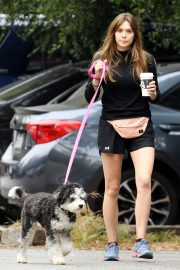 Elizabeth Olsen in Black Dress with Her Dog Out in the Hollywood Hills 2019/05/16 4