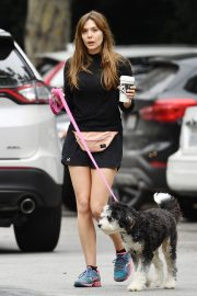 Elizabeth Olsen in Black Dress with Her Dog Out in the Hollywood Hills 2019/05/16 8