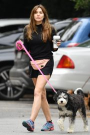Elizabeth Olsen in Black Dress with Her Dog Out in the Hollywood Hills 2019/05/16 10