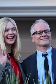 Elle Fanning at balcony of the Martinez Hotel in the evening of the Cannes Film Festival in France 2019/05/13 1