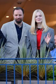 Elle Fanning at balcony of the Martinez Hotel in the evening of the Cannes Film Festival in France 2019/05/13 2