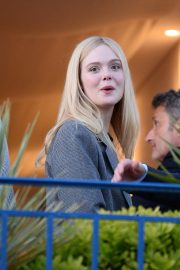 Elle Fanning at balcony of the Martinez Hotel in the evening of the Cannes Film Festival in France 2019/05/13 4