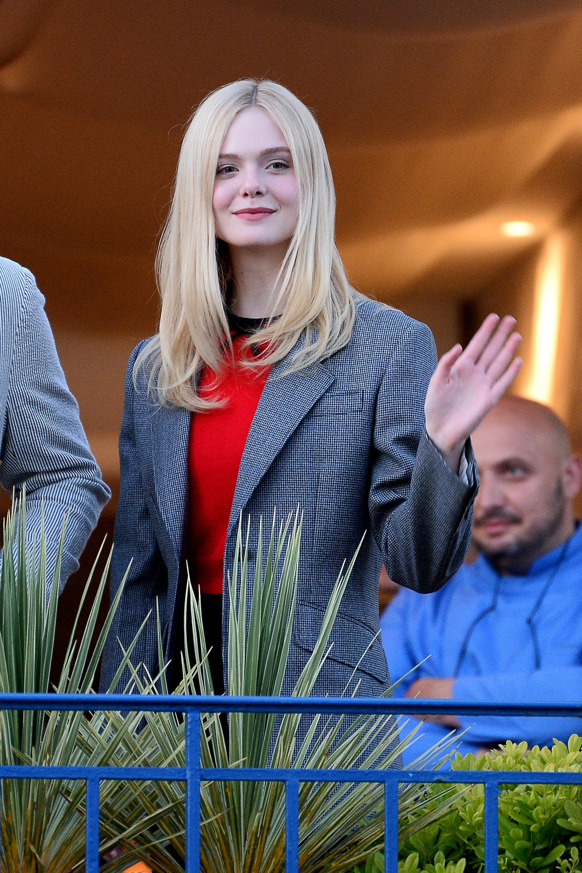 Elle Fanning at balcony of the Martinez Hotel in the evening of the Cannes Film Festival in France 2019/05/13 14