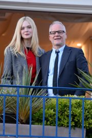 Elle Fanning at balcony of the Martinez Hotel in the evening of the Cannes Film Festival in France 2019/05/13 16
