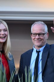 Elle Fanning at balcony of the Martinez Hotel in the evening of the Cannes Film Festival in France 2019/05/13 18