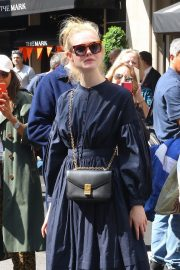Elle Fanning in a Long Sleeved Navy Blue Dress Out in New York 2019/05/04 1