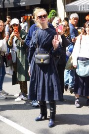 Elle Fanning in a Long Sleeved Navy Blue Dress Out in New York 2019/05/04 4