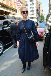 Elle Fanning in a Long Sleeved Navy Blue Dress Out in New York 2019/05/04 8