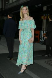 Elle Fanning wearing a floral dress in New York 2019/05/02 2