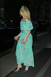 Elle Fanning wearing a floral dress in New York 2019/05/02 10