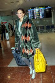 Frederique Bel in Multi Color Long Coat at Nice Airport in Nice 2019/05/12 1