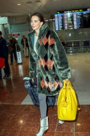 Frederique Bel in Multi Color Long Coat at Nice Airport in Nice 2019/05/12 2