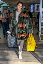 Frederique Bel in Multi Color Long Coat at Nice Airport in Nice 2019/05/12 3