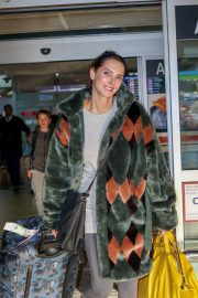 Frederique Bel in Multi Color Long Coat at Nice Airport in Nice 2019/05/12 4